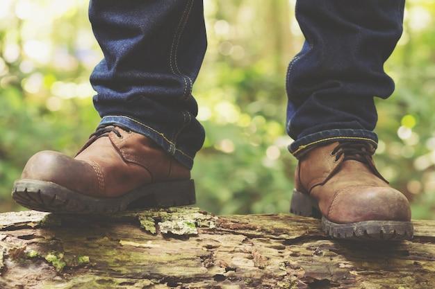 여행자 관광 등산객 근접 신발 부츠와 하이킹