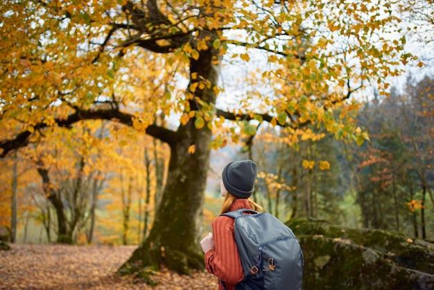 木の近くの自然の中で秋の森で休んでいるバックパックを持った旅行者