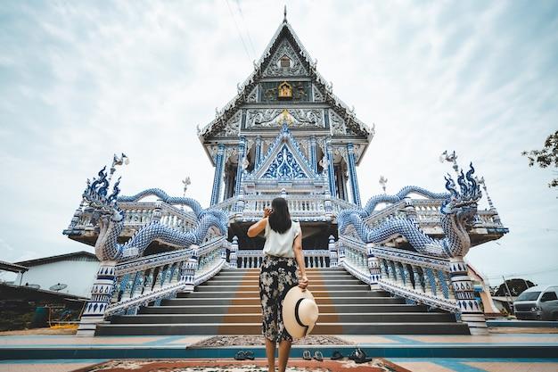 Traveler woman exploring a temple