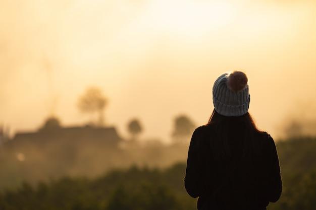 Traveler woman in nature