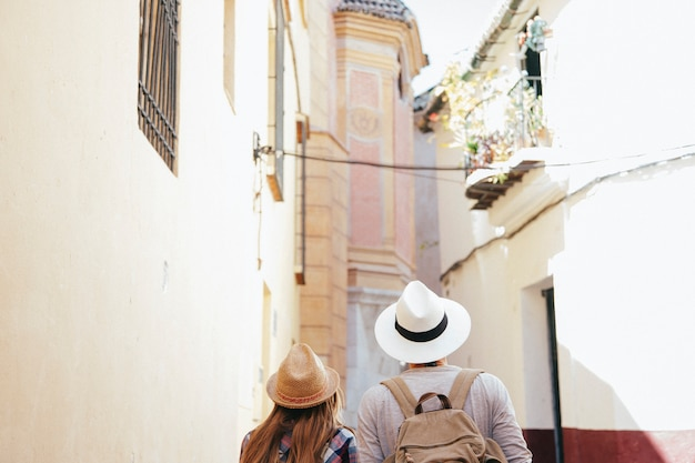 Travelers in the old town