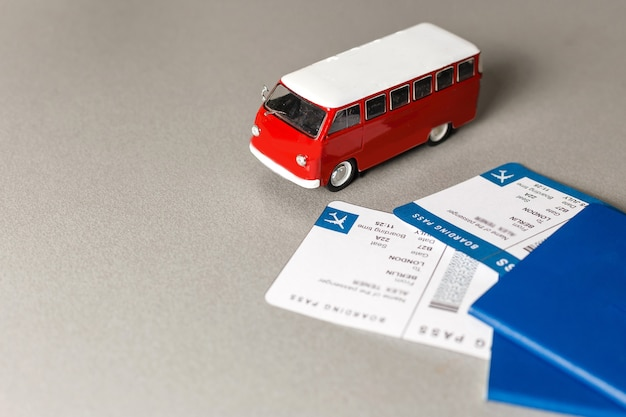 Traveling abroad by bus. passports and bus