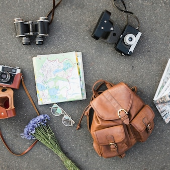 Traveling accessories on ground