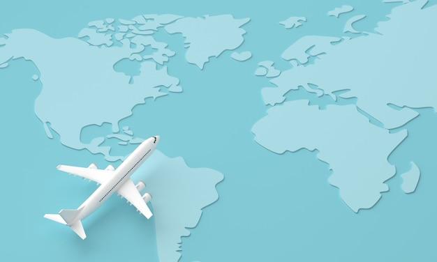 비행기로 전 세계를 여행합니다. 세계 여행 개념. 3d 렌더링