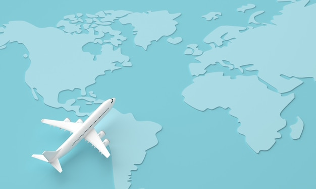Traveling around the world by plane. world travel concept. 3d rendering