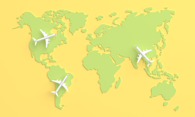 Traveling around the world by plane. world travel concept