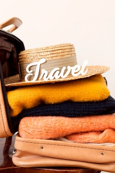 Traveling clothes with travel text