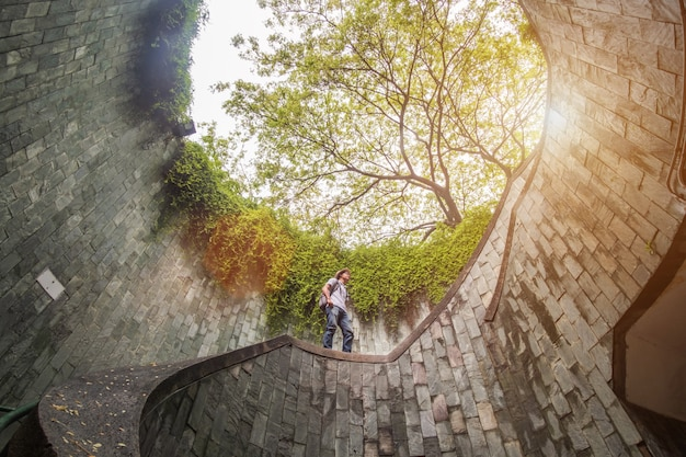 Traveling at fort canning park in singapore