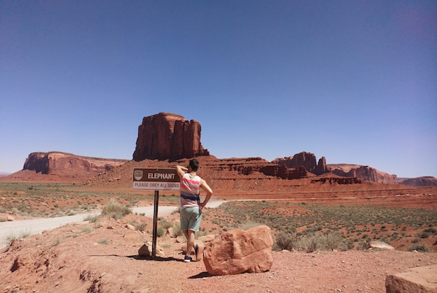 Traveling to a monument valley in the state of utah