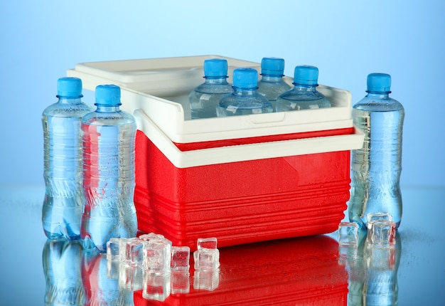 Traveling refrigerator with bottles of water and ice cubes