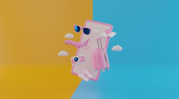 Traveling suitcase with travel accessories. Premium Photo