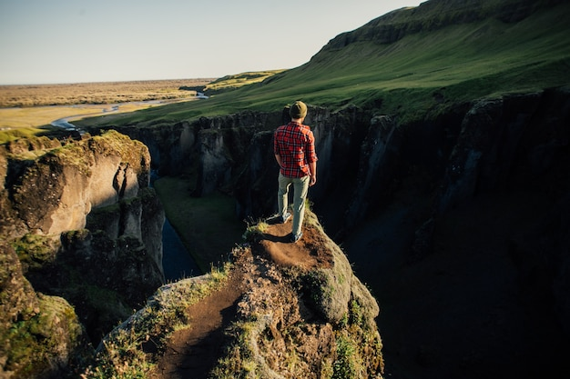 Traveller explore rugged landscape of iceland