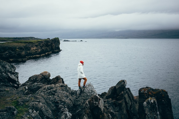 Traveller explores rugged landscape of iceland