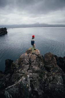 Il viaggiatore esplora il paesaggio aspro dell'islanda