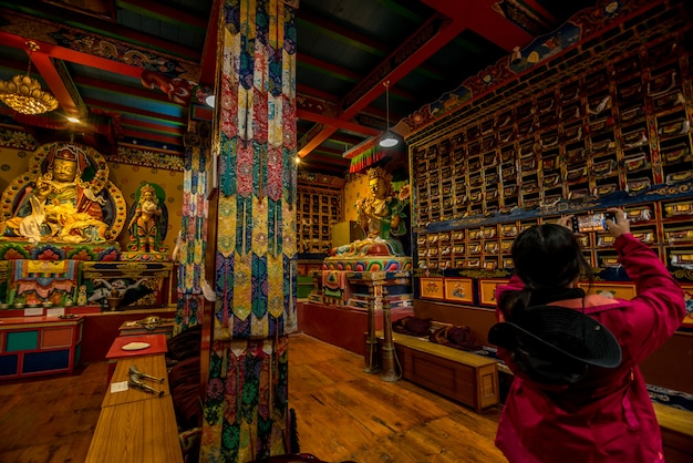 Traveller at khumjung village visit the yeti skull at khumjung monastery in namche bazaar,