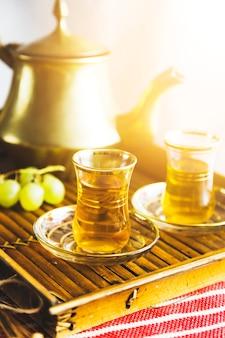 Tray of moorish tea with grapes