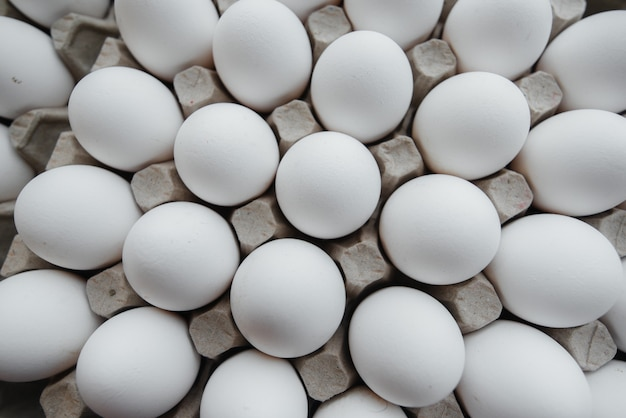 Tray of white fresh eggs close-up on a cardboard form. agricultural industry.