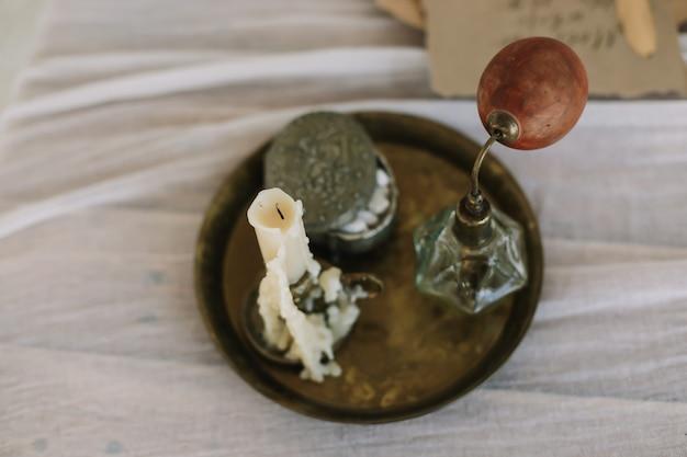 ドレッシングテーブルのキャンドル香水ジュエリーボックス付きトレイ