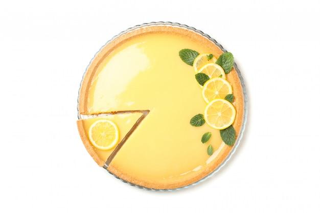 맛있는 레몬 타르트 흰색 배경에 고립 된 트레이