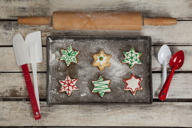 Tray with freshly baked christmas cookies