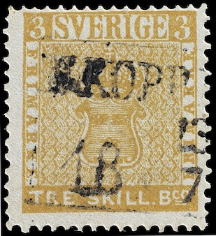 Tre skilling stamp three error swedish banco
