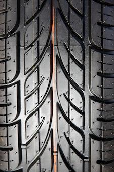 Tread tires black closeup