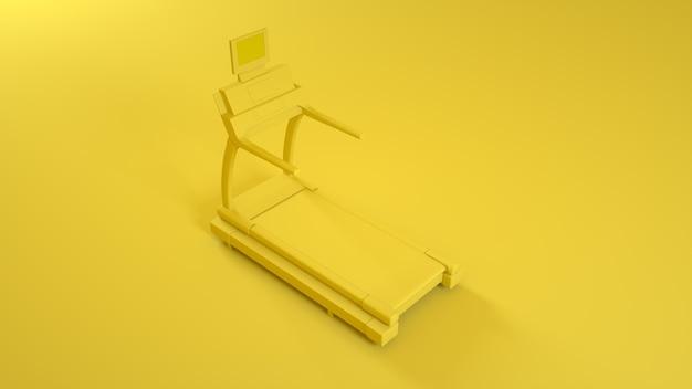 黄色の背景にトレッドミルランニングマシン。 3dイラスト。
