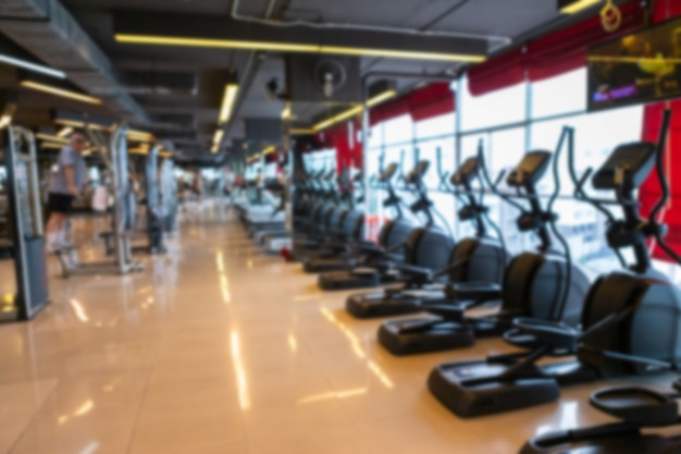 Treadmill in sport gym interior and fitness health club