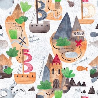 宝の地図。水彩のシームレスなパターン。島、岩、船、海洋生物の繰り返しのテクスチャ。