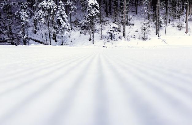 Обработанная трасса на горнолыжном курорте