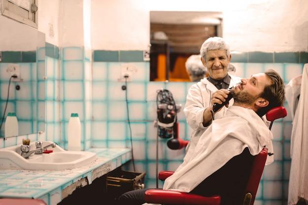Treatment at a barber shop