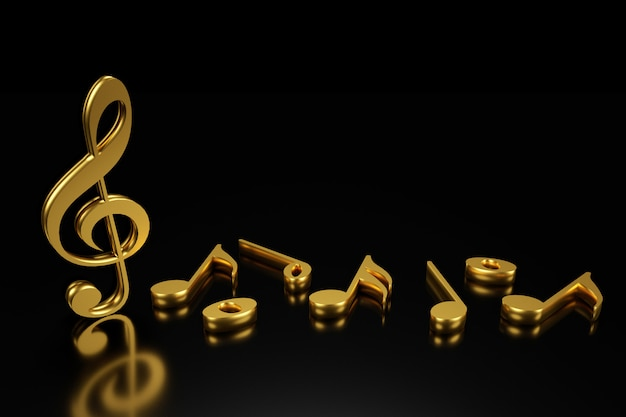 Treble clef and music notation 3d rendering.