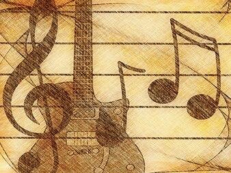 Treble concert sound clef musician music guitar