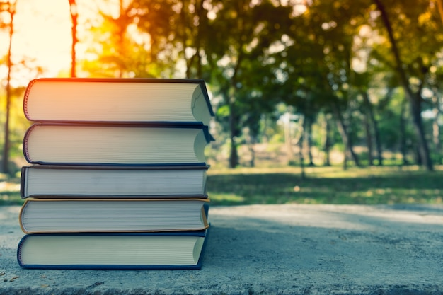 학교 개념을 다시 녹색 bokeh와 햇빛, 신선한 봄 녹색 정원 옆에 나무 플랫폼에 나무 세 책 스택.