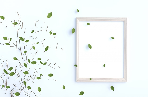 Tree branch and blow leaves on white cement wall with picture frame. background 3d render.