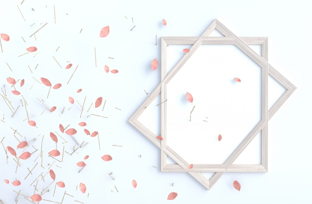 Tree branch and blow pink leaves on white cement wall with picture frame. background 3d render.