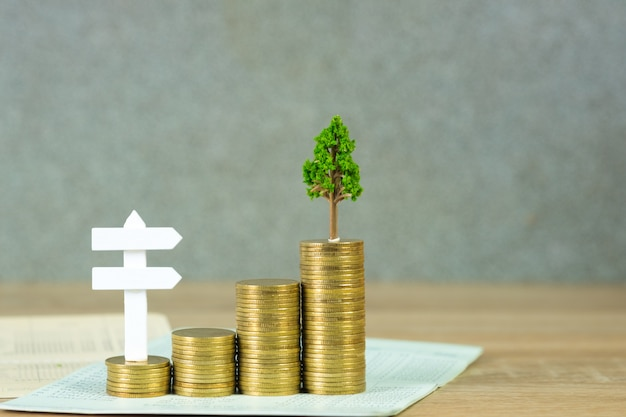 Tree growing on pile of golden coins and account book or credit cart and white wooden board sign