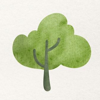 Дерево в элементе дизайна акварель