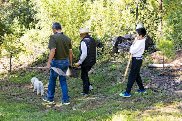 나무 사나이와 작은 개가 숲 한가운데를 걷고, 나무를 심으러 가고, 그들 중 두 명이 나무와 삽을 싣고, 그들 중 한 명은 구덩이 파는 아이입니다