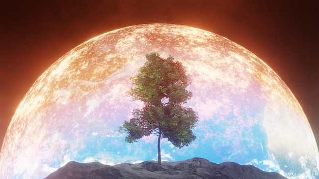 Tree on moon with burning earth background
