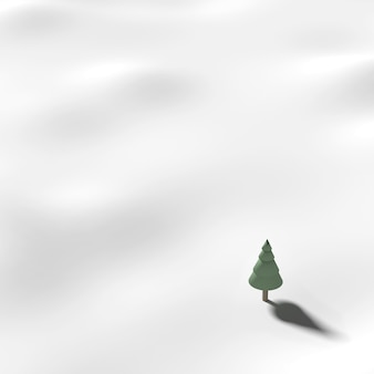 Tree on snow. In winter with snow