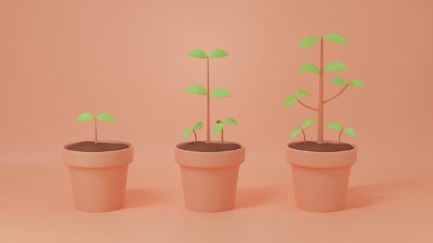 土鍋植物の段階で成長する樹木植物は、財政的または考え方または知識の成長の概念3d