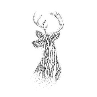 나무 순록 도트워크. boho 스타일 티셔츠 디자인의 래스터 그림. 문신 손으로 그린 스케치. 뿔이 있는 사슴.