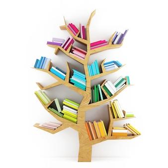 다채로운 책이있는 나무 모양의 선반
