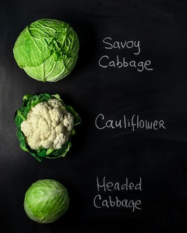 Tree types of cabbage heads on black board with incription