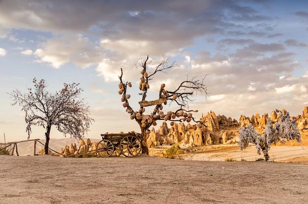Tree of wishes with clay pots in cappadocia. nevsehir province, cappadocia, turkey