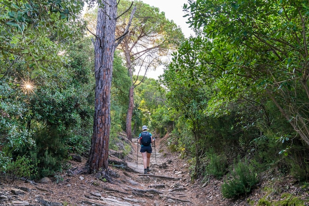 Treekking at dawn leaving girona with a hiker on the way.