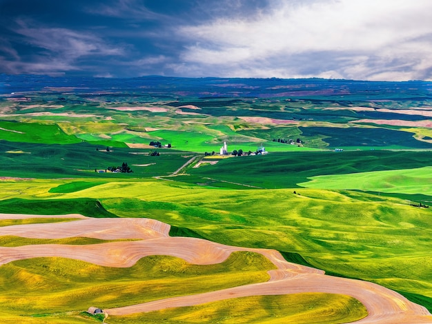 A treeless agricultural area of palouse in southeastern washington