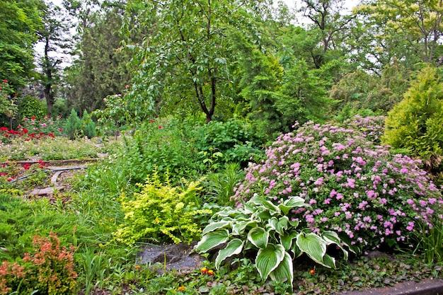 정원 조경 디자인의 나무와 꽃