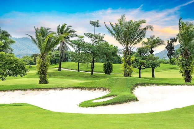 골프 코스에 나무와 모래